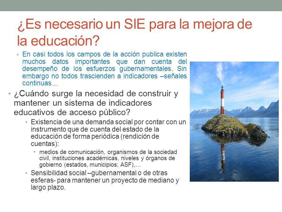 ¿Es necesario un SIE para la mejora de la educación? En casi todos los campos de la acción publica existen muchos datos importantes que dan cuenta del