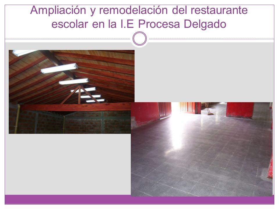 Ampliación y remodelación del restaurante escolar en la I.E Procesa Delgado