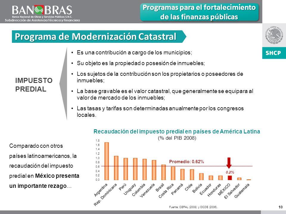 10 Programa de Modernización Catastral Programas para el fortalecimiento de las finanzas públicas IMPUESTO PREDIAL Es una contribución a cargo de los municipios; Su objeto es la propiedad o posesión de inmuebles; Los sujetos de la contribución son los propietarios o poseedores de inmuebles; La base gravable es el valor catastral, que generalmente se equipara al valor de mercado de los inmuebles; Las tasas y tarifas son determinadas anualmente por los congresos locales.