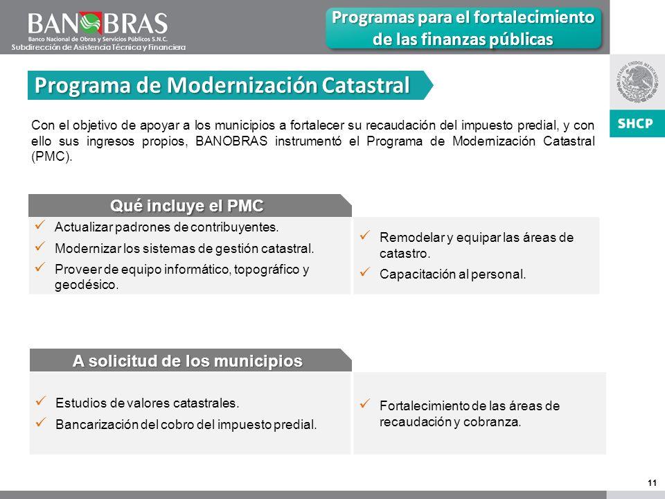 11 Programa de Modernización Catastral Programas para el fortalecimiento de las finanzas públicas Con el objetivo de apoyar a los municipios a fortalecer su recaudación del impuesto predial, y con ello sus ingresos propios, BANOBRAS instrumentó el Programa de Modernización Catastral (PMC).
