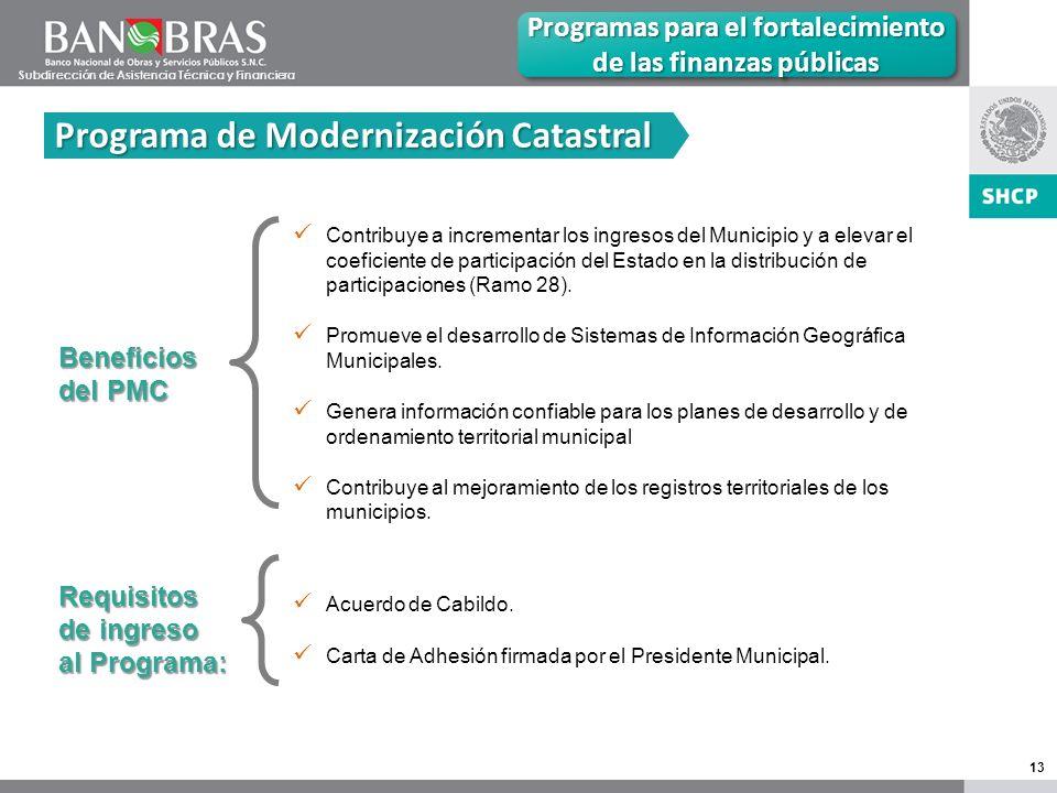 13 Programas para el fortalecimiento de las finanzas públicas Programa de Modernización Catastral Beneficios del PMC Contribuye a incrementar los ingresos del Municipio y a elevar el coeficiente de participación del Estado en la distribución de participaciones (Ramo 28).