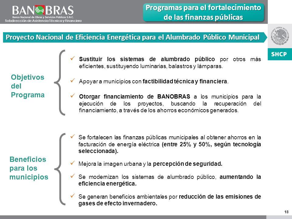 18 Proyecto Nacional de Eficiencia Energética para el Alumbrado Público Municipal Programas para el fortalecimiento de las finanzas públicas Sustituir los sistemas de alumbrado público por otros más eficientes, sustituyendo luminarias, balastros y lámparas.