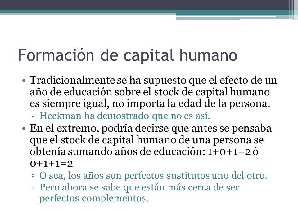 Formación de capital humano Tradicionalmente se ha supuesto que el efecto de un año de educación sobre el stock de capital humano es siempre igual, no importa la edad de la persona.