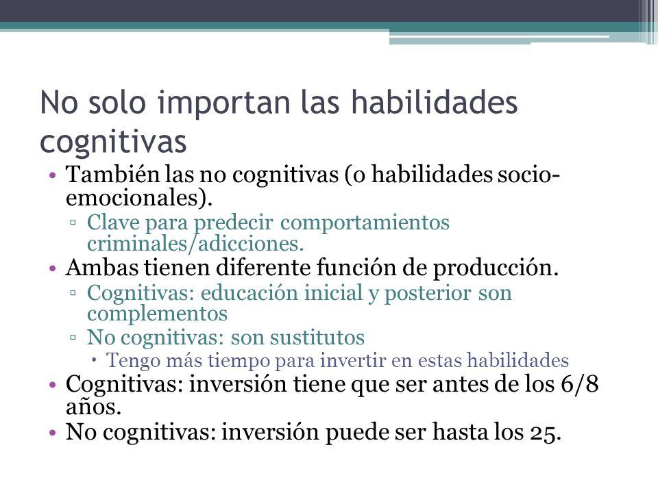 No solo importan las habilidades cognitivas También las no cognitivas (o habilidades socio- emocionales). Clave para predecir comportamientos criminal