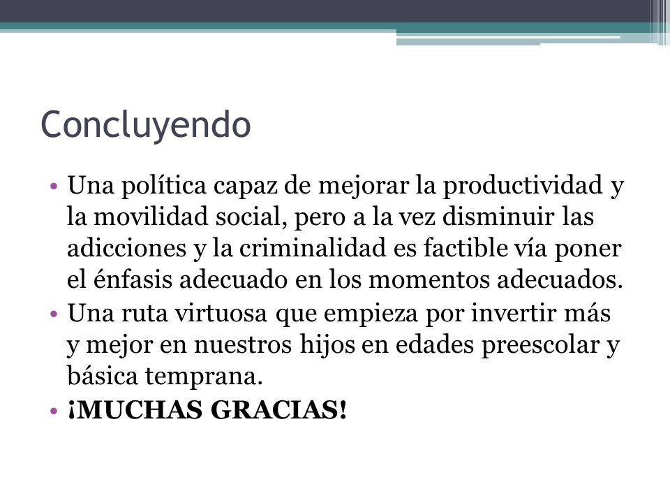 Concluyendo Una política capaz de mejorar la productividad y la movilidad social, pero a la vez disminuir las adicciones y la criminalidad es factible