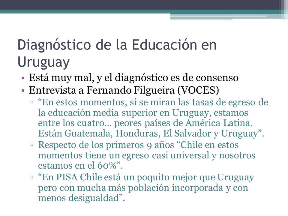 Diagnóstico de la Educación en Uruguay Está muy mal, y el diagnóstico es de consenso Entrevista a Fernando Filgueira (VOCES) En estos momentos, si se miran las tasas de egreso de la educación media superior en Uruguay, estamos entre los cuatro… peores países de América Latina.