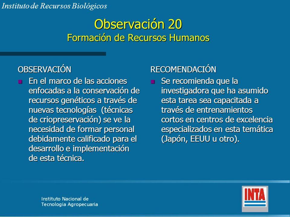 Observación 20 Formación de Recursos Humanos OBSERVACIÓN n En el marco de las acciones enfocadas a la conservación de recursos genéticos a través de n