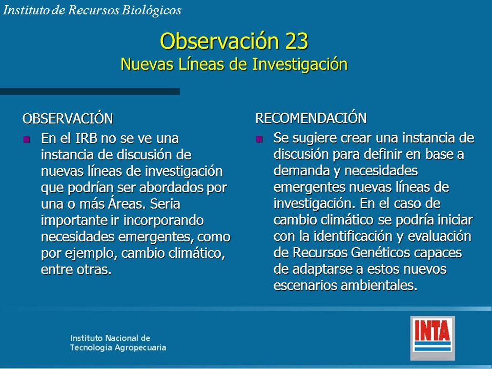 Observación 23 Nuevas Líneas de Investigación OBSERVACIÓN n En el IRB no se ve una instancia de discusión de nuevas líneas de investigación que podría