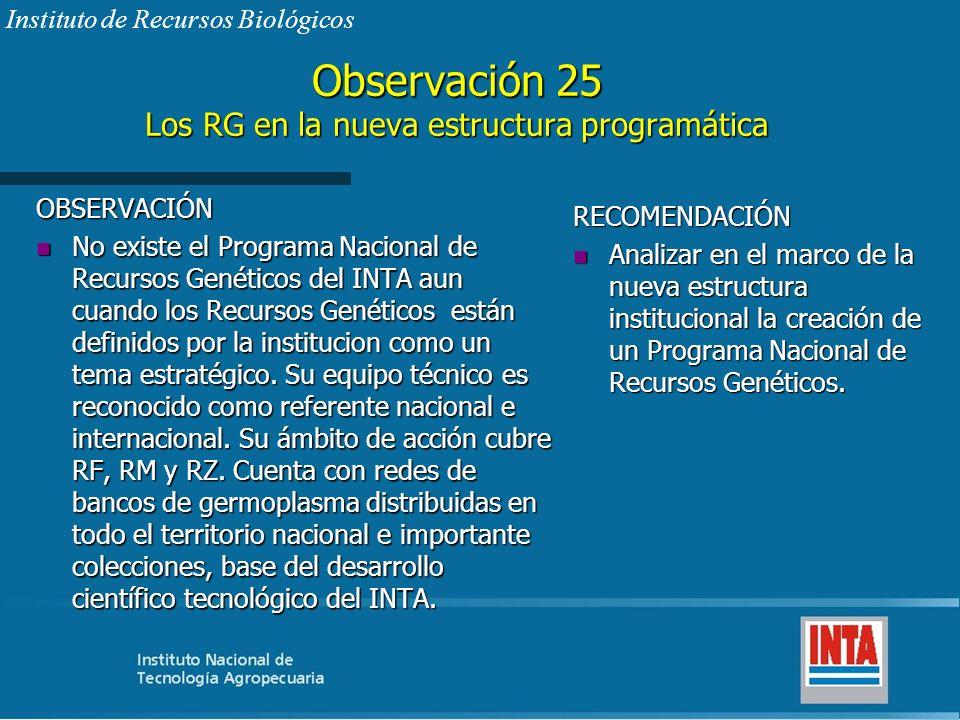 Observación 25 Los RG en la nueva estructura programática OBSERVACIÓN n No existe el Programa Nacional de Recursos Genéticos del INTA aun cuando los R