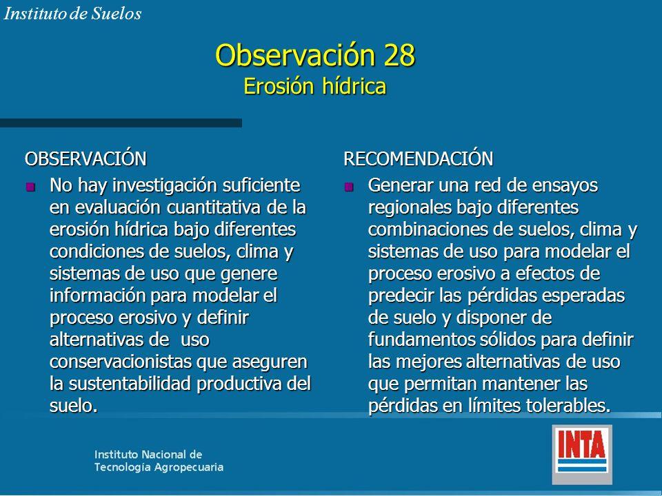 Observación 28 Erosión hídrica OBSERVACIÓN n No hay investigación suficiente en evaluación cuantitativa de la erosión hídrica bajo diferentes condicio