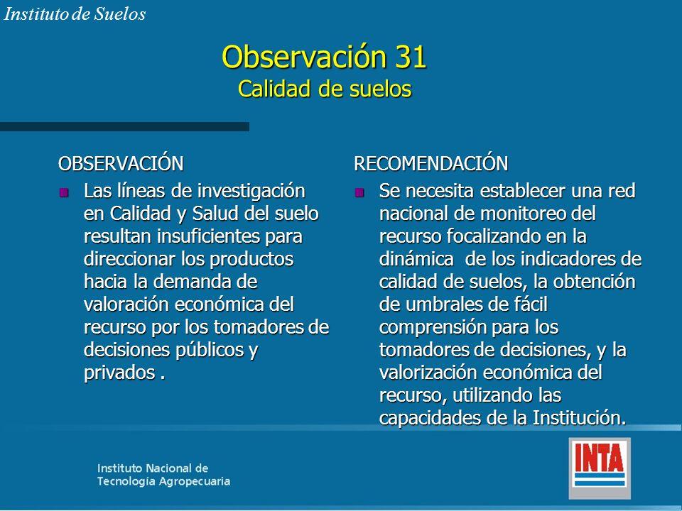 Observación 31 Calidad de suelos OBSERVACIÓN n Las líneas de investigación en Calidad y Salud del suelo resultan insuficientes para direccionar los pr