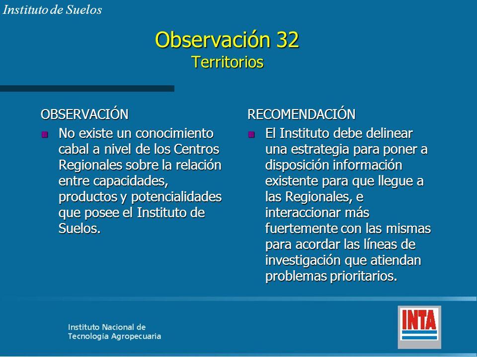 Observación 32 Territorios OBSERVACIÓN n No existe un conocimiento cabal a nivel de los Centros Regionales sobre la relación entre capacidades, produc