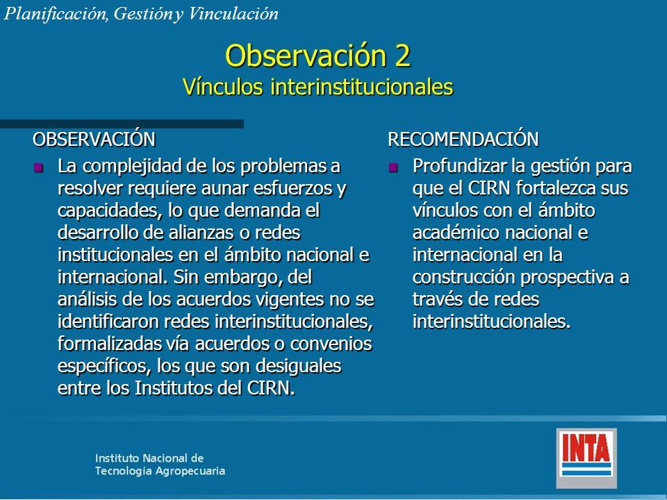 Observación 2 Vínculos interinstitucionales OBSERVACIÓN n La complejidad de los problemas a resolver requiere aunar esfuerzos y capacidades, lo que de