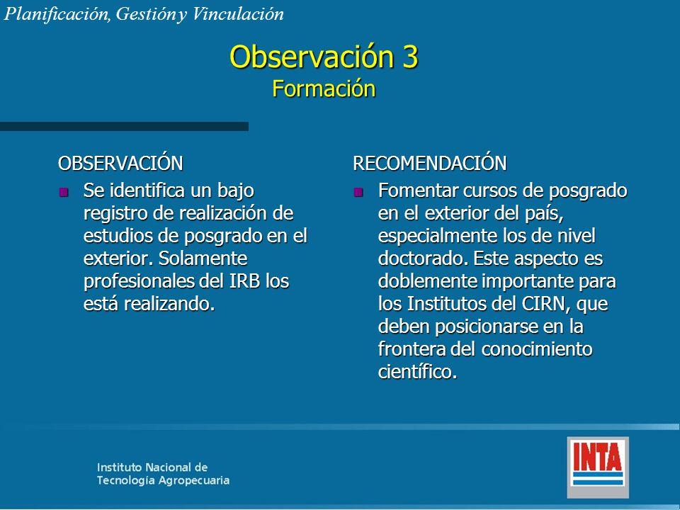 Observación 3 Formación OBSERVACIÓN n Se identifica un bajo registro de realización de estudios de posgrado en el exterior. Solamente profesionales de