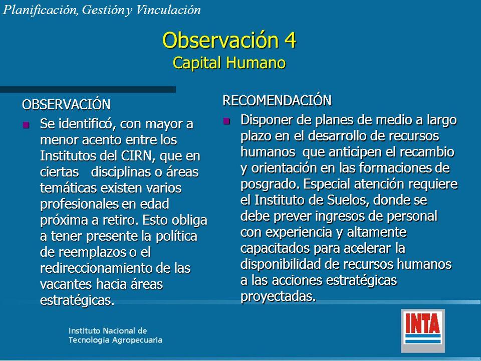 Observación 4 Capital Humano OBSERVACIÓN n Se identificó, con mayor a menor acento entre los Institutos del CIRN, que en ciertas disciplinas o áreas t