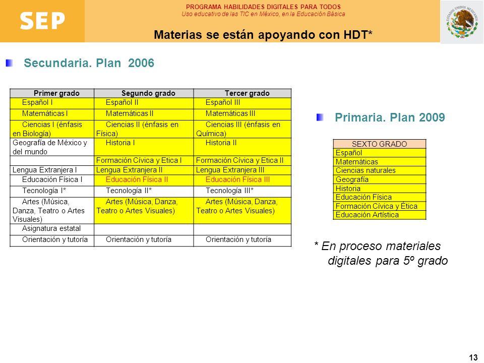 13 Secundaria. Plan 2006 PROGRAMA HABILIDADES DIGITALES PARA TODOS Uso educativo de las TIC en México, en la Educación Básica Materias se están apoyan