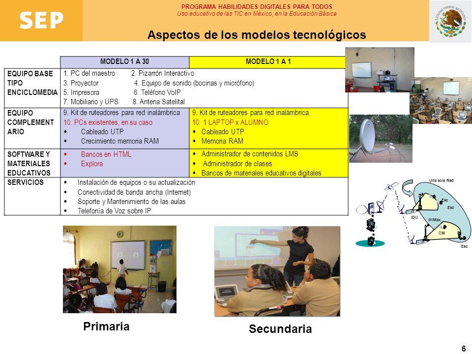6 PROGRAMA HABILIDADES DIGITALES PARA TODOS Uso educativo de las TIC en México, en la Educación Básica Aspectos de los modelos tecnológicos MODELO 1 A