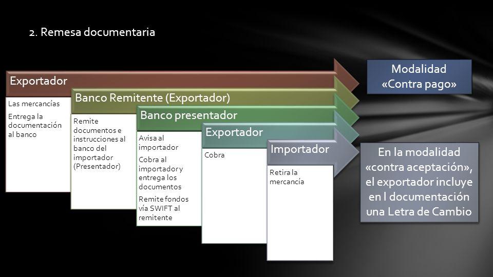 2. Remesa documentaria Exportador Las mercancías Entrega la documentación al banco Banco Remitente (Exportador) Remite documentos e instrucciones al b