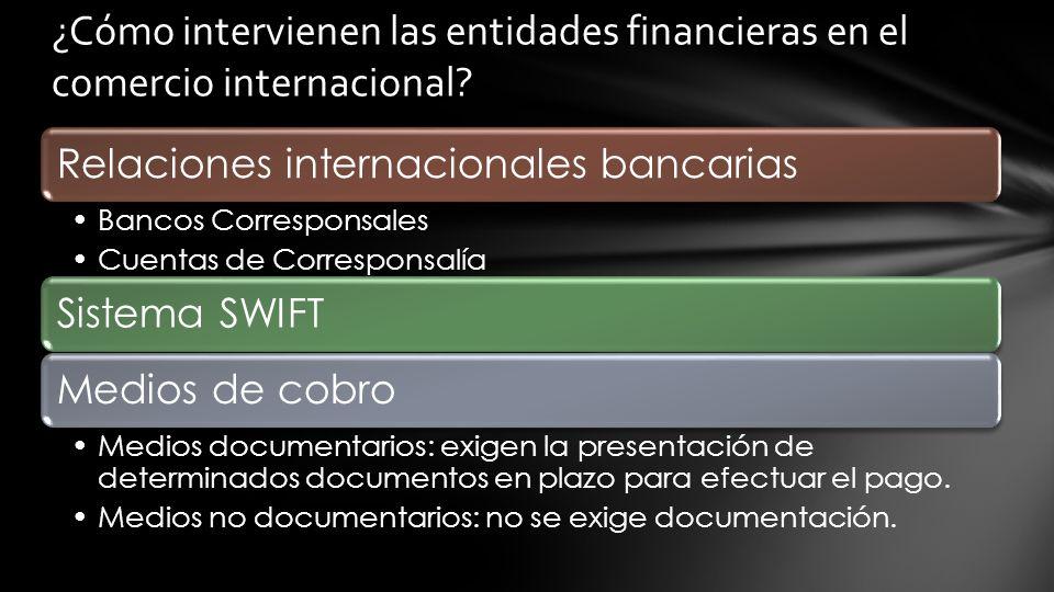 Relaciones internacionales bancarias Bancos Corresponsales Cuentas de Corresponsalía Sistema SWIFTMedios de cobro Medios documentarios: exigen la presentación de determinados documentos en plazo para efectuar el pago.