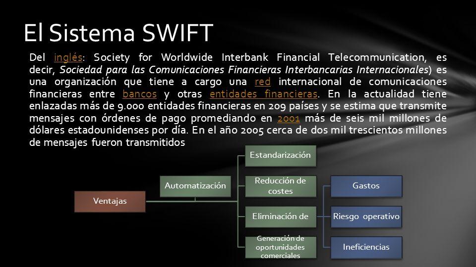 transmisor de mensajes SWIFT es únicamente un transmisor de mensajes.