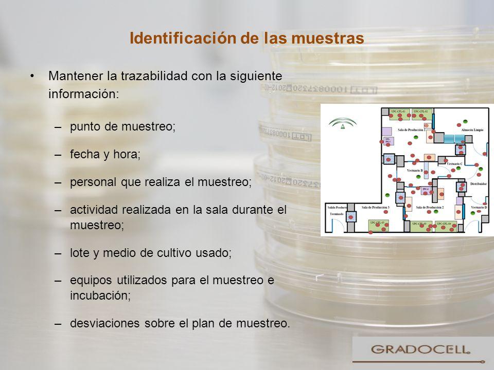 Identificación de las muestras Mantener la trazabilidad con la siguiente información: –punto de muestreo; –fecha y hora; –personal que realiza el mues