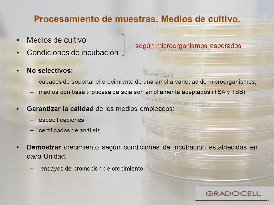 Procesamiento de muestras. Medios de cultivo. Medios de cultivo Condiciones de incubación No selectivos: –capaces de soportar el crecimiento de una am