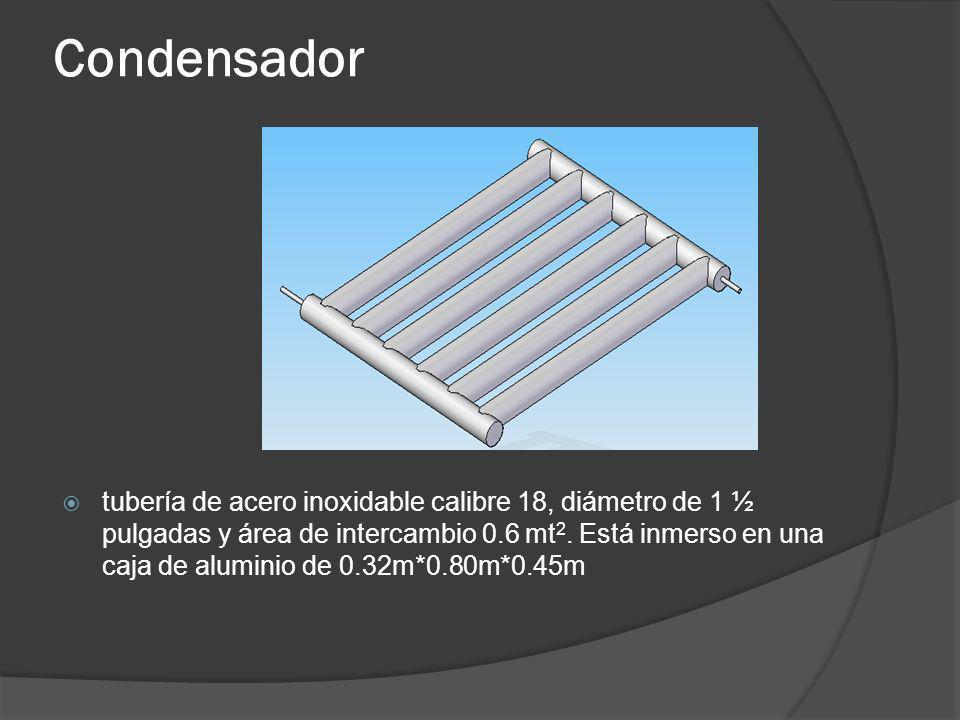 Condensador tubería de acero inoxidable calibre 18, diámetro de 1 ½ pulgadas y área de intercambio 0.6 mt 2. Está inmerso en una caja de aluminio de 0