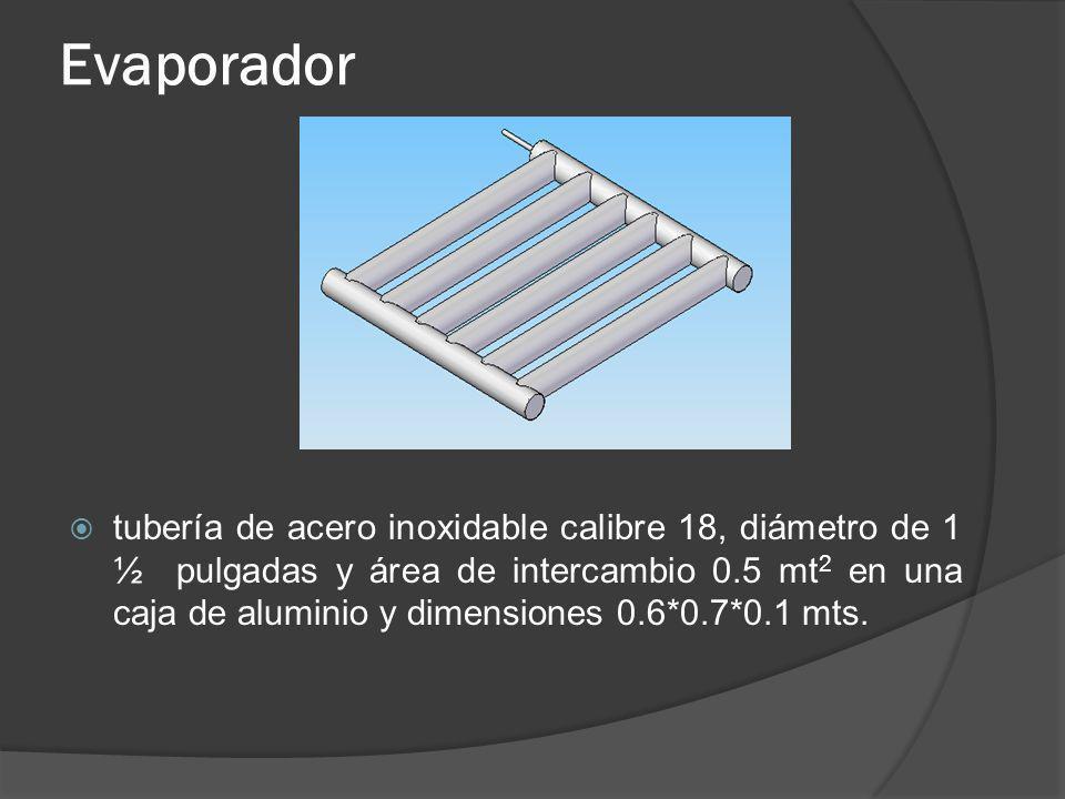 Evaporador tubería de acero inoxidable calibre 18, diámetro de 1 ½ pulgadas y área de intercambio 0.5 mt 2 en una caja de aluminio y dimensiones 0.6*0