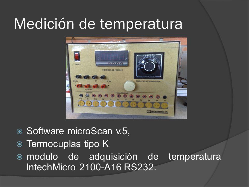 Medición de temperatura Software microScan v.5, Termocuplas tipo K modulo de adquisición de temperatura IntechMicro 2100-A16 RS232.