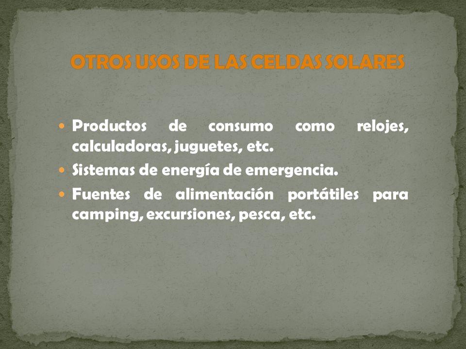 Productos de consumo como relojes, calculadoras, juguetes, etc. Sistemas de energía de emergencia. Fuentes de alimentación portátiles para camping, ex