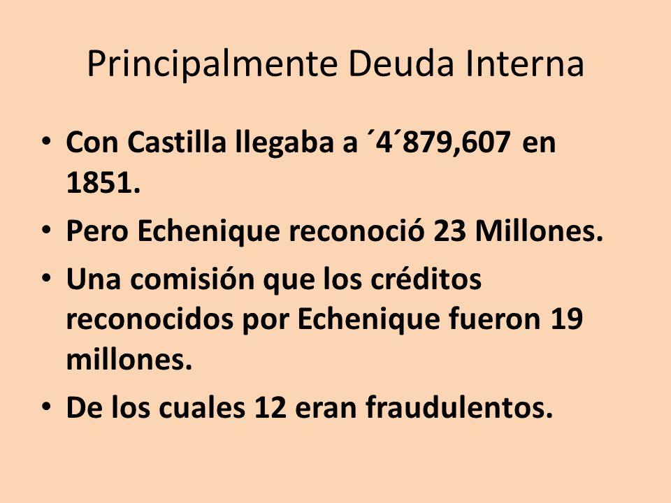 Principalmente Deuda Interna Con Castilla llegaba a ´4´879,607 en 1851.