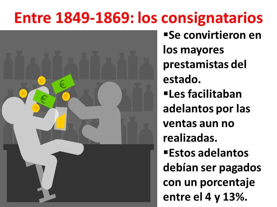 Entre 1849-1869: los consignatarios Se convirtieron en los mayores prestamistas del estado.