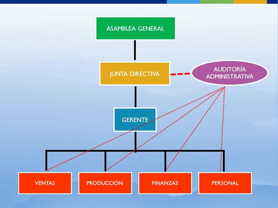 JUNTA DIRECTIVA GERENTE VENTAS ASAMBLEA GENERAL PERSONALPRODUCCIÓNFINANZAS AUDITORÍA ADMINISTRATIVA
