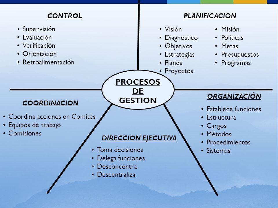 PROCESOS DE GESTION CONTROL Supervisión Evaluación Verificación Orientación Retroalimentación PLANIFICACION Visión Misión Diagnostico Políticas Objeti
