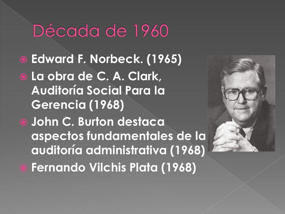 Edward F. Norbeck. (1965) La obra de C. A. Clark, Auditoría Social Para la Gerencia (1968) John C. Burton destaca aspectos fundamentales de la auditor