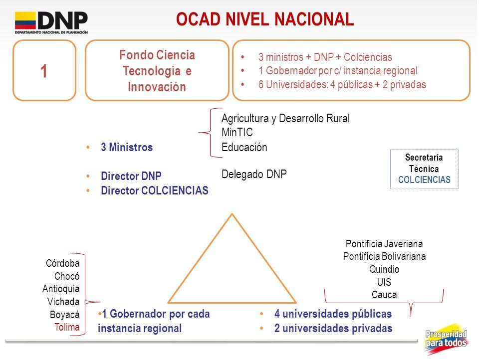 OCAD NIVEL NACIONAL 1 Gobernador por cada instancia regional 4 universidades públicas 2 universidades privadas Fondo Ciencia Tecnología e Innovación 3