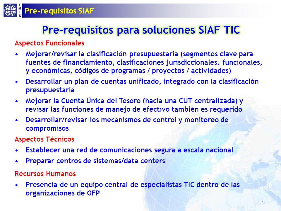 Pre-requisitos SIAF 9