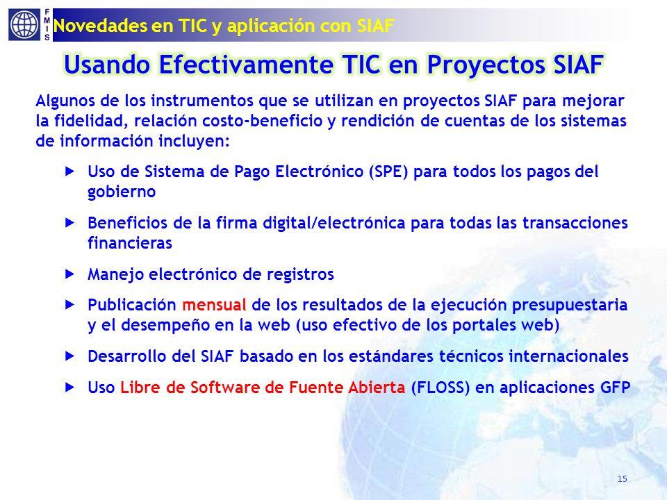 Novedades en TIC y aplicación con SIAF 15
