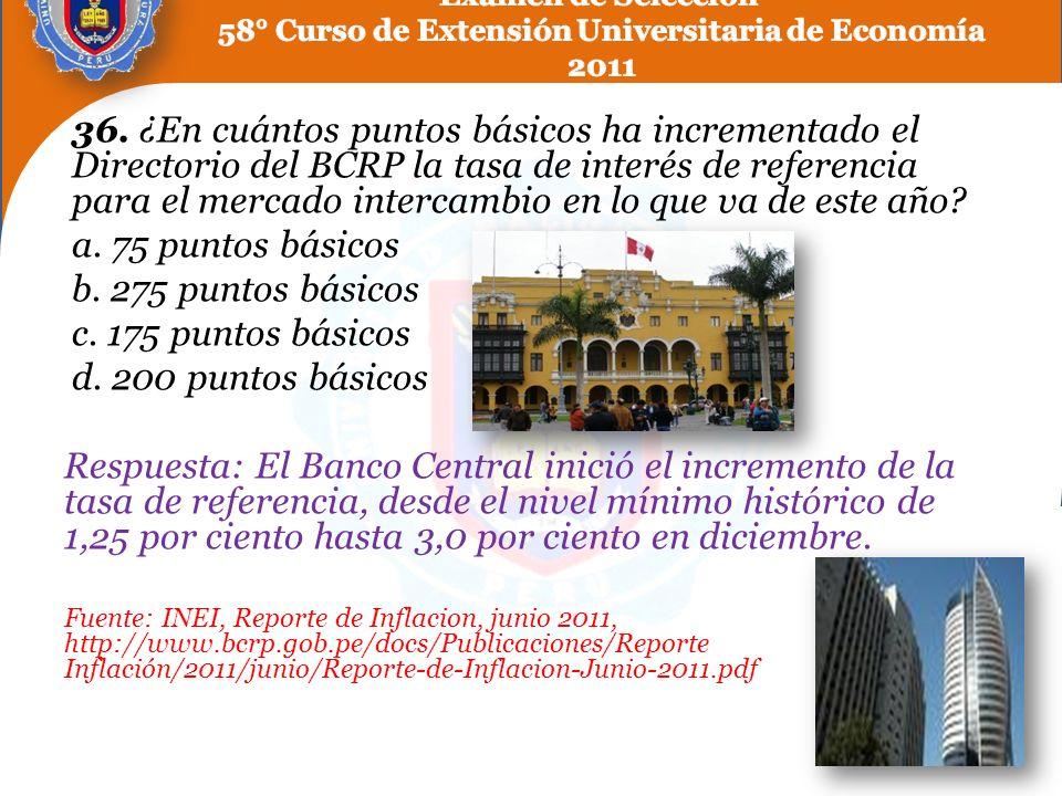 36. ¿En cuántos puntos básicos ha incrementado el Directorio del BCRP la tasa de interés de referencia para el mercado intercambio en lo que va de est