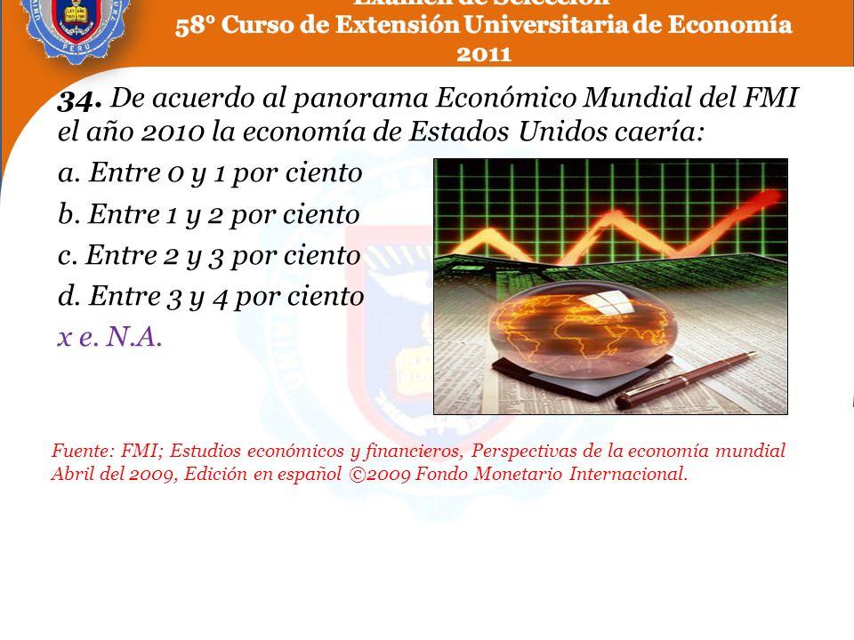 34. De acuerdo al panorama Económico Mundial del FMI el año 2010 la economía de Estados Unidos caería: a. Entre 0 y 1 por ciento b. Entre 1 y 2 por ci