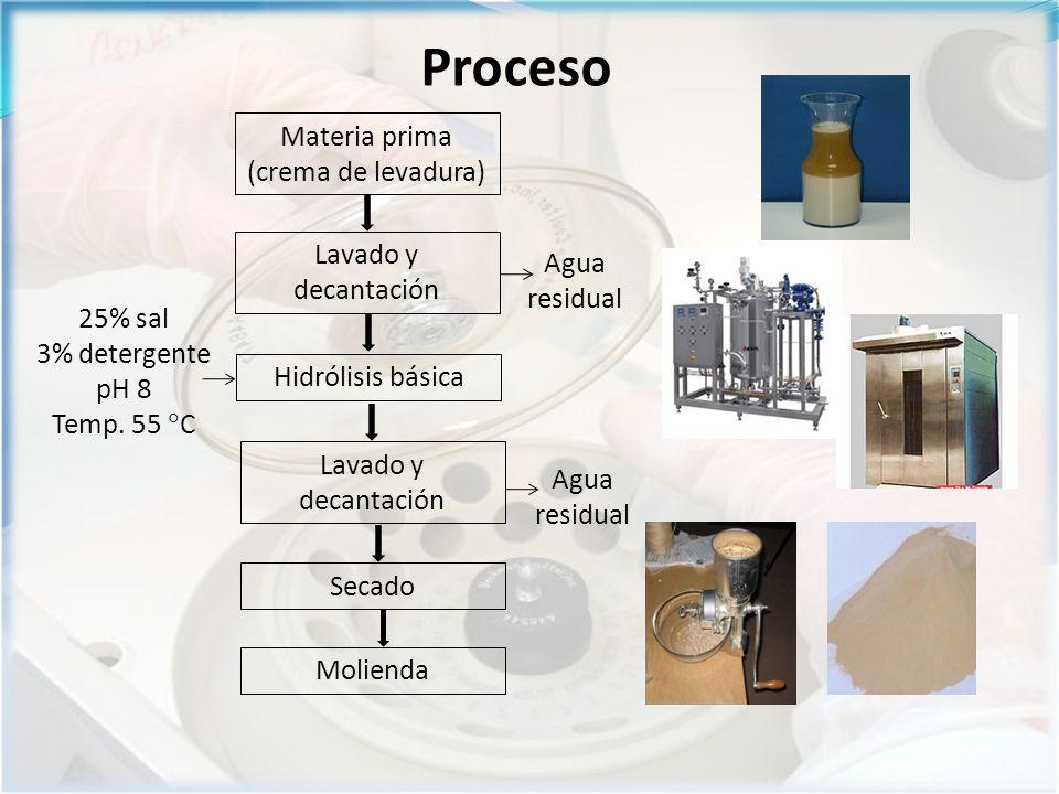 Proceso Materia prima (crema de levadura) Lavado y decantación Hidrólisis básica 25% sal 3% detergente pH 8 Temp.