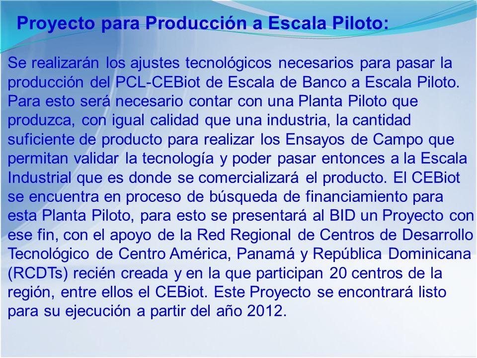 Proyecto para Producción a Escala Piloto: Se realizarán los ajustes tecnológicos necesarios para pasar la producción del PCL-CEBiot de Escala de Banco a Escala Piloto.