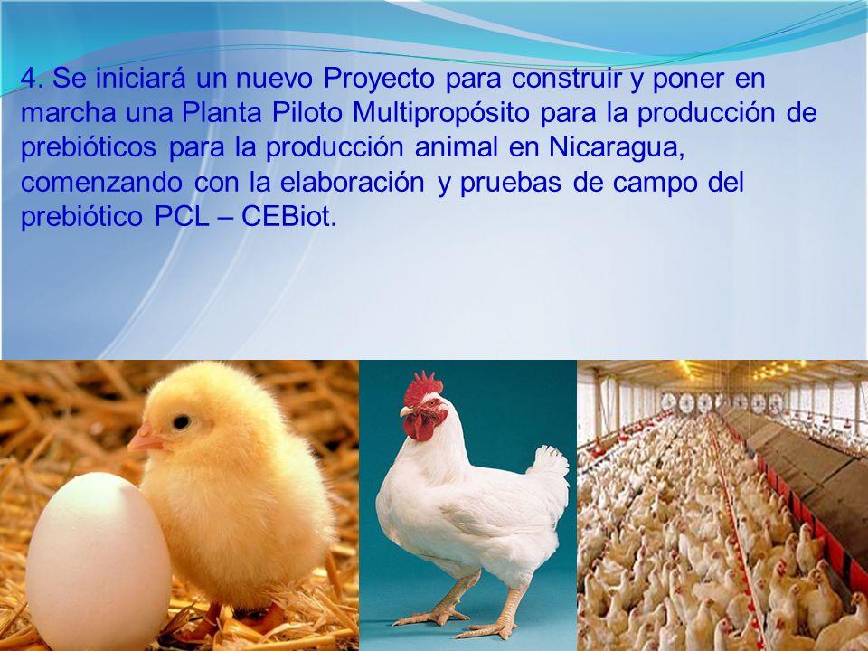 4. Se iniciará un nuevo Proyecto para construir y poner en marcha una Planta Piloto Multipropósito para la producción de prebióticos para la producció