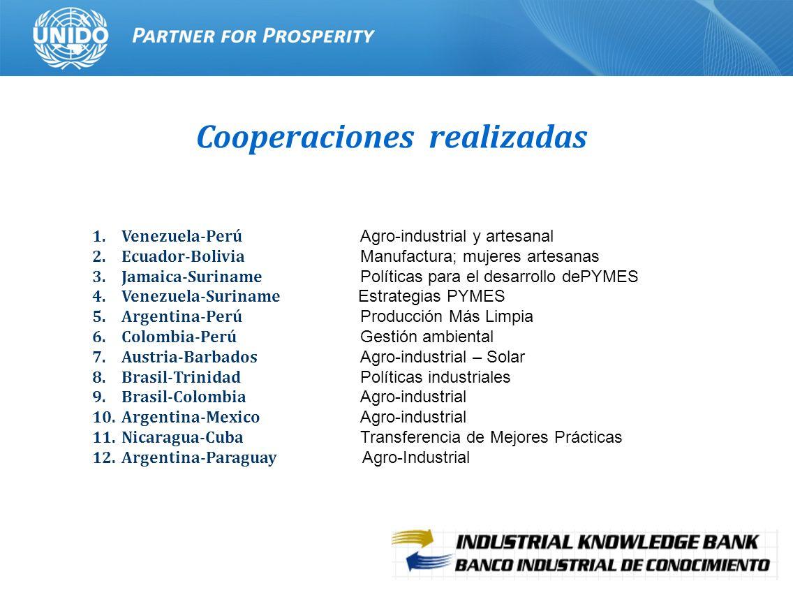 11 Cooperaciones realizadas 1.Venezuela-Perú Agro-industrial y artesanal 2.Ecuador-Bolivia Manufactura; mujeres artesanas 3.Jamaica-Suriname Políticas