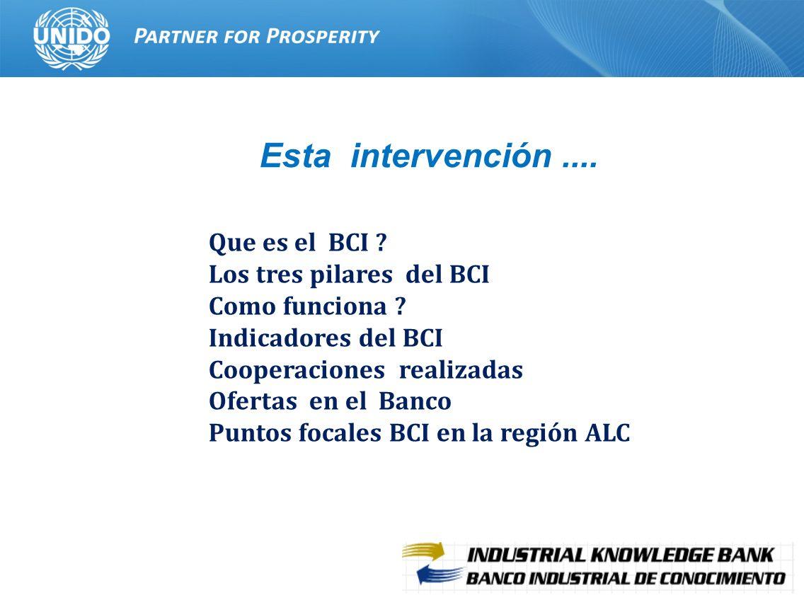 2 Que es el BCI ? Los tres pilares del BCI Como funciona ? Indicadores del BCI Cooperaciones realizadas Ofertas en el Banco Puntos focales BCI en la r
