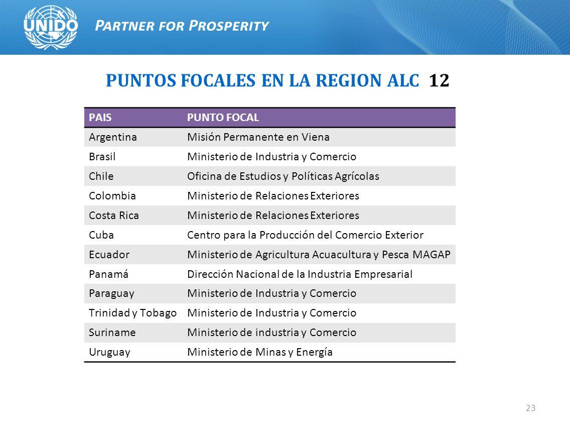 23 PUNTOS FOCALES EN LA REGION ALC 12 PAISPUNTO FOCAL ArgentinaMisión Permanente en Viena BrasilMinisterio de Industria y Comercio ChileOficina de Est