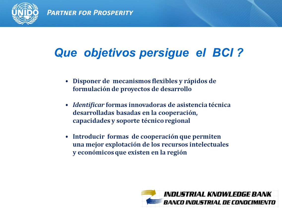 4 Que objetivos persigue el BCI ? Disponer de mecanismos flexibles y rápidos de formulación de proyectos de desarrollo Identificar formas innovadoras