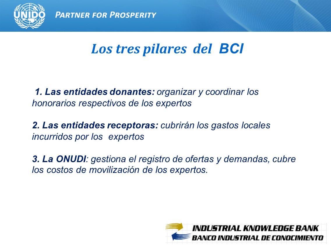 5 Los tres pilares del BCI 1. Las entidades donantes: organizar y coordinar los honorarios respectivos de los expertos 2. Las entidades receptoras: cu