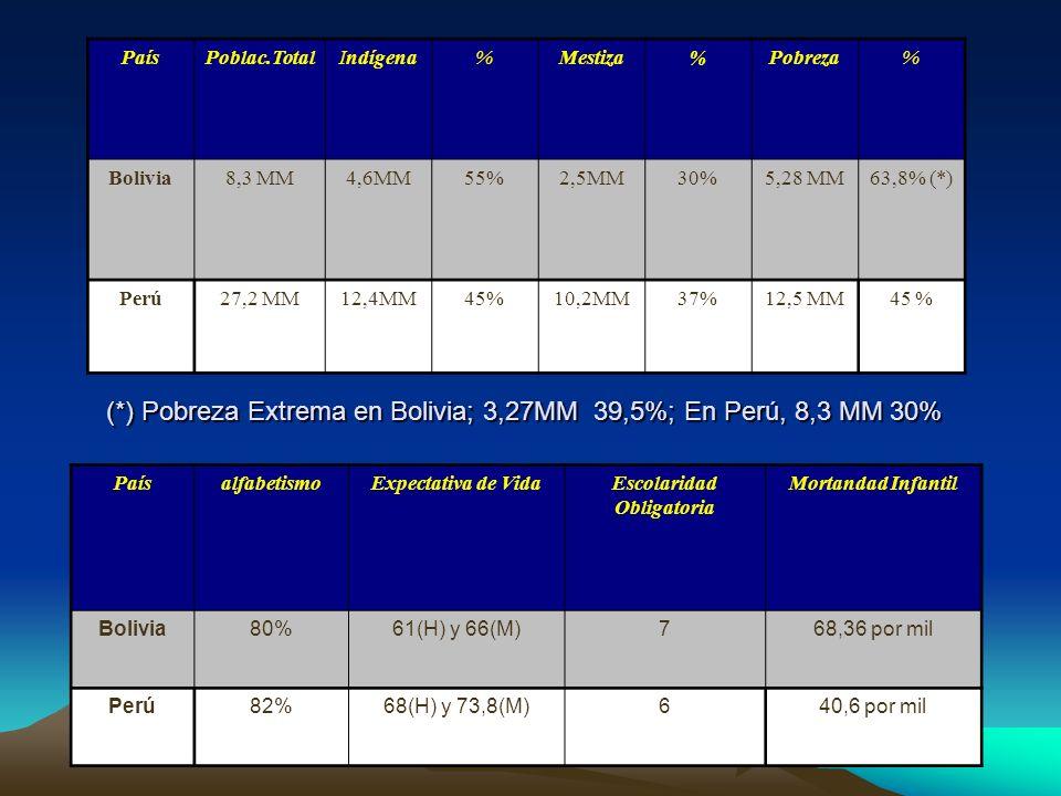 PaísPoblac.TotalIndígena%Mestiza%Pobreza% Bolivia8,3 MM4,6MM55%2,5MM30%5,28 MM63,8% (*) Perú27,2 MM12,4MM45%10,2MM37%12,5 MM45 % (*) Pobreza Extrema e