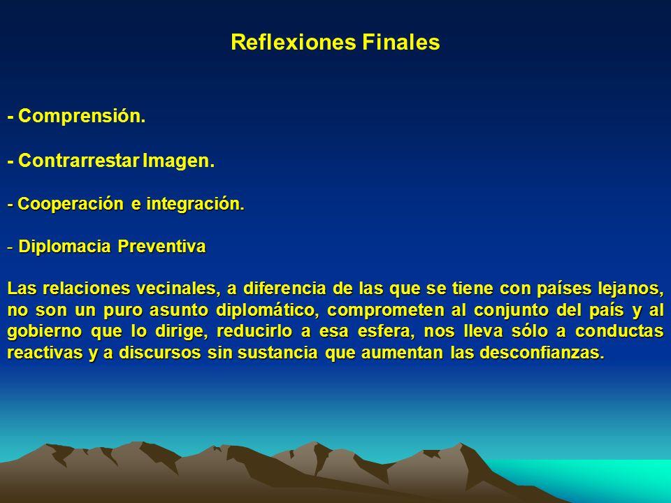 Reflexiones Finales - Comprensión. - Contrarrestar Imagen. - Cooperación e integración. - Diplomacia Preventiva Las relaciones vecinales, a diferencia